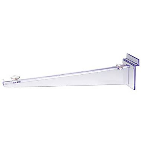 "10"" Clear Polycarbonate Slatwall Shelf Bracket w/ Rubber Rest"
