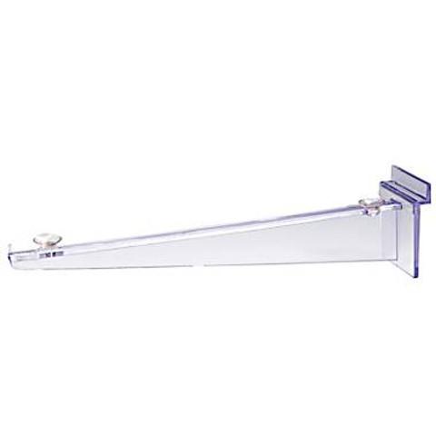 """12"""" Clear Polycarbonate Slatwall Shelf Bracket w/ Rubber Rest"""