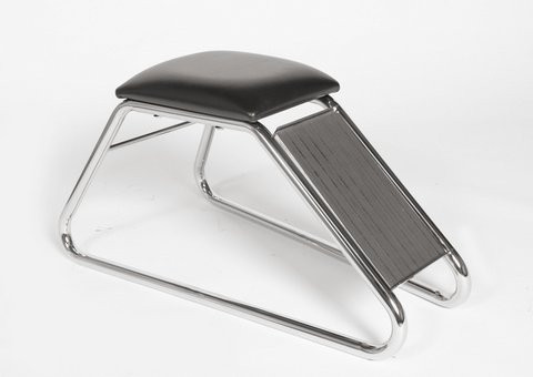 Shoe Fitting Stool With Black Padded Seat & Chrome Frame