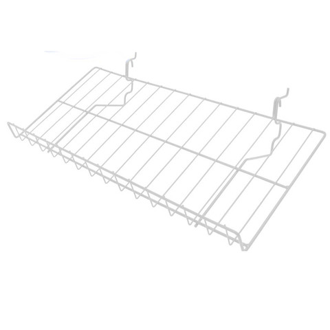 12D x 23W Gridwall Slanted Shelf | White