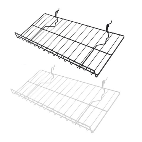 12D x 23W Gridwall Slanted Shelf | Black or White