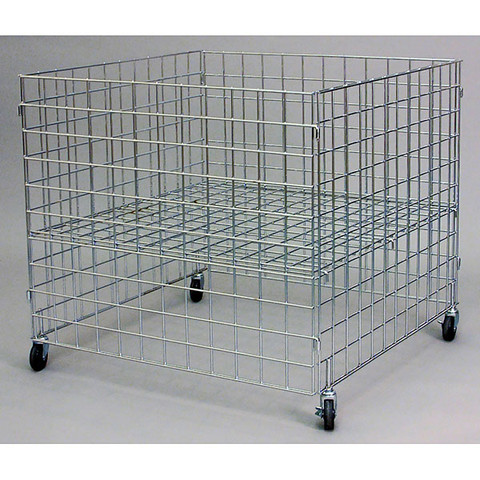 36 Inch Square Wire Grid Dump Bin | Chrome