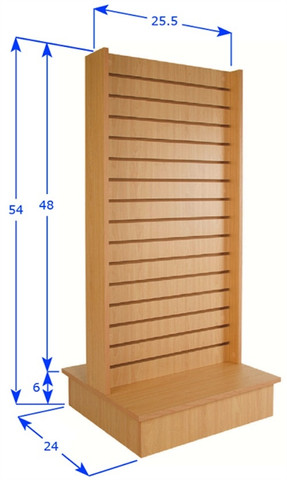 """Double Sided Slatwall Display Fixture   24""""W x 56""""H   Black, White or Maple"""