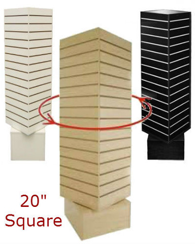 "4 Sided Revolving Slatwall Display | 20""W x 60""H | Black, White or Maple"