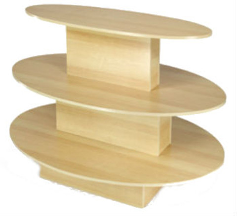 Three Tier Oval Wood Retail Display Table | Maple