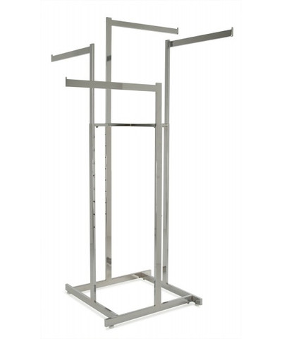 """Chrome Hi-Capacity 4 Way Clothing Rack With (4) 22"""" L Straight Display Arms"""