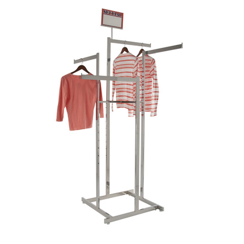 High Capacity 4 Way Display Clothing Rack  Chrome