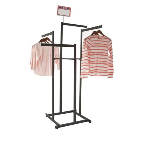 Black 4 Way High Capacity Clothing Rack