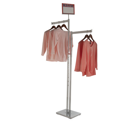 Two Sided Clothing Rack with TWO Straight Display Arms