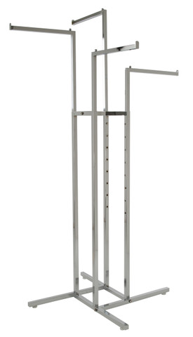4 Way Clothing Display Rack with 4 Straight Arms | Chrome