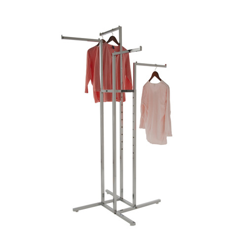 "4 Way Retail Garment Rack With (4) 16"" Long Straight Display Arms | CHROME"