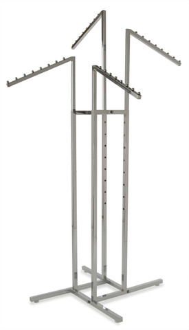 "4 Way Retail Clothing Rack With (4) 18"" Waterfall Display Arms 