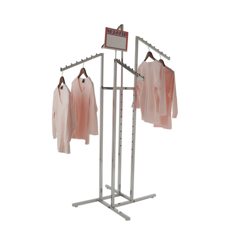 4 Way Clothing Display Rack with 4 Slanted Arms | Chrome
