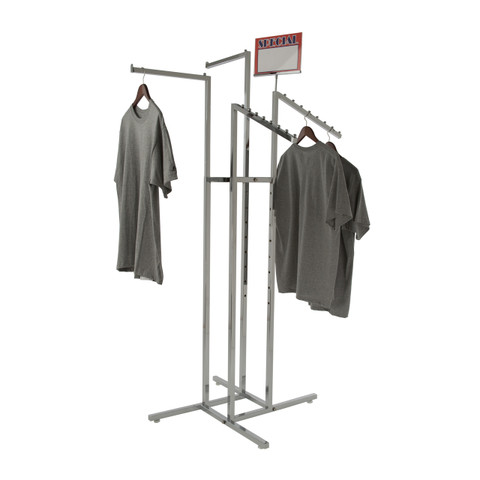 4 Way Clothing Rack with 2 Slanted & 2 Straight Arms | Chrome