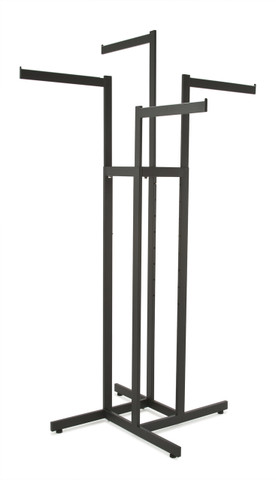 4 Way Clothing Rack w/ 4 Straight Arms  Rectangular Tubing | Black