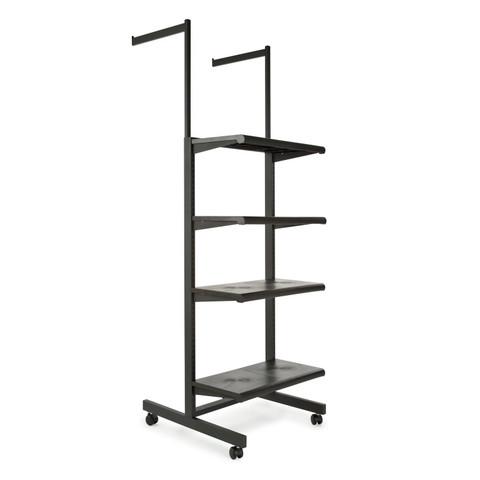 Two Arms & Four Shelves Combination Clothing Rack  Black Shelves