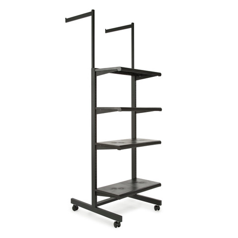 Two Arms & Four Shelves Combination Clothing Rack  Black Shelves