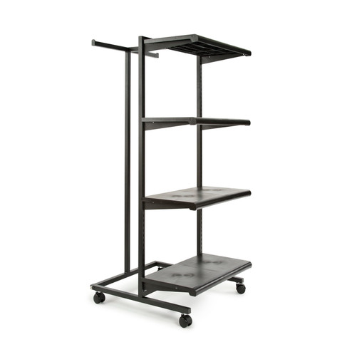 T Stand & Four Shelves Combination Clothing Rack | Black Shelves