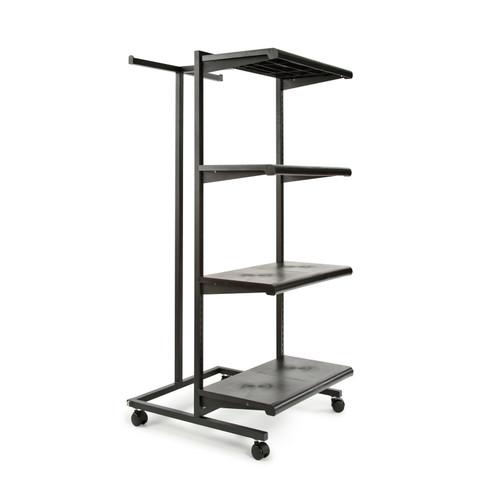 T Stand & Four Shelves Combination Clothing Rack | Black Shelves