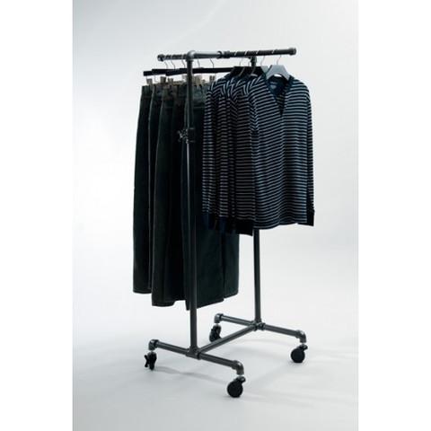Pipeline 2 Way Adjustable Height Clothing Rack w/ Cross Bar | GREY
