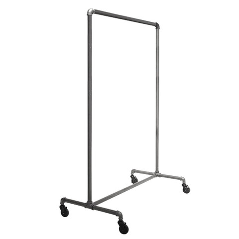 "51"" Wide Pipeline Single Rail Ballet Rolling Clothing Rack 