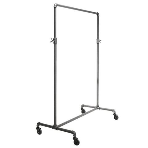 "41"" Wide Pipeline Adjustable Height Rolling Clothing Ballet Rack 