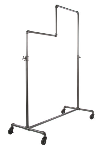 Double Tire Single Rail Ballet Pipe Clothing Rack | GREY