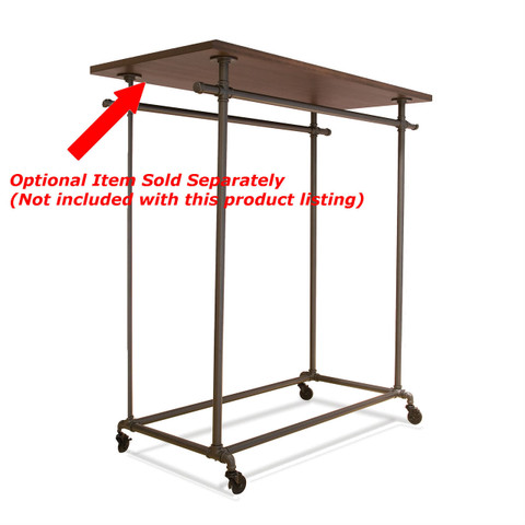 Pipeline Double Rail Rolling Ballet Clothing Display Rack Topper Optional