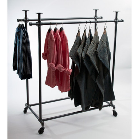 Double Bar Pipe Clothing Rack  Gloss White