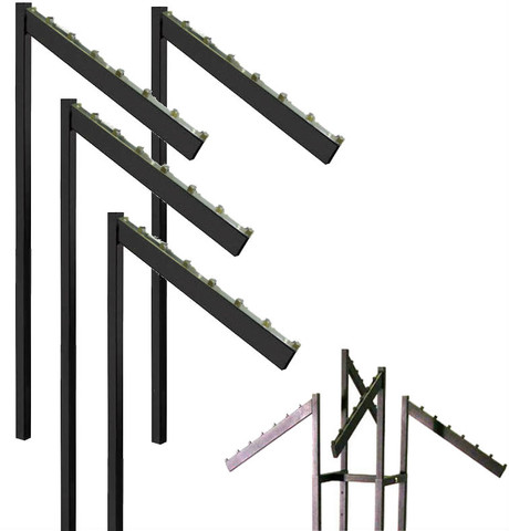 Black 2 & 4 Way Rack Slanted  Rectangular  7 Retaining Replacement Arms