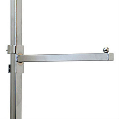 """12"""" Long Clamp-On Straight Add-On Arm For Square Tube Clothing Racks"""