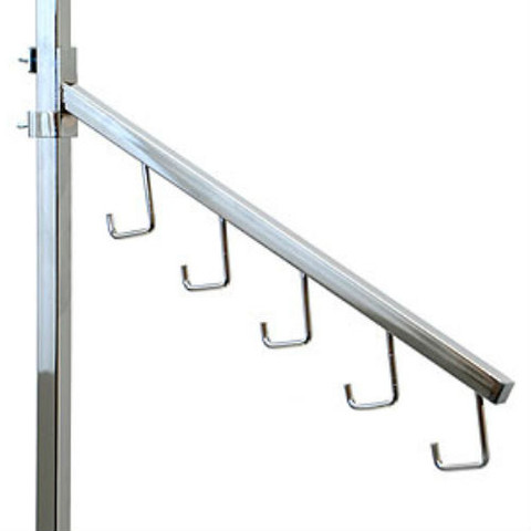 2 way and 4 way square tubing rack clam-on slanted 5j hooks add-on arm