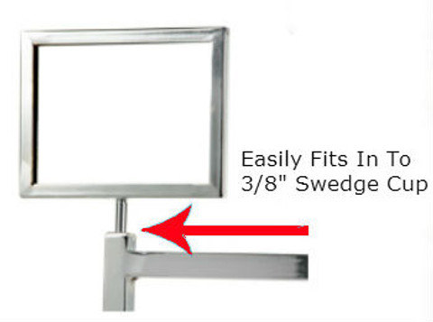 "5.5""H x 7""W Sign Holder for Clothing Racks with 3""L Swedge Stem"