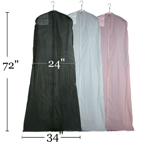 """72"""" Zippered Bridal Gown Cover   Black, White or Pink"""