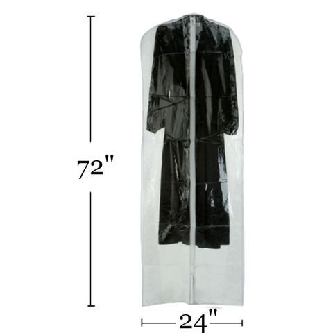 """72"""" Clear Vinyl Zippered Bridal Gown Cover"""