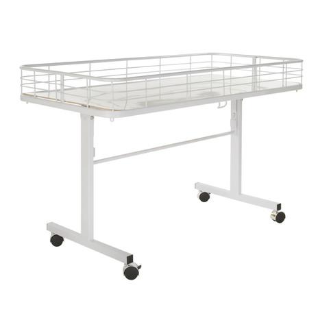 Folding Dump Bin Table on Wheels | White