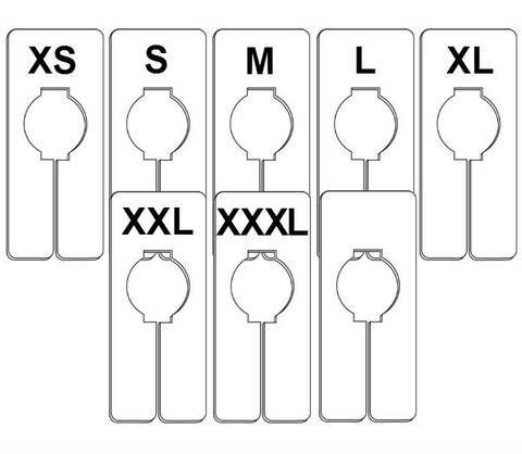 Rectangular Size Dividers | Size Options: XS to XXXL 0/Size