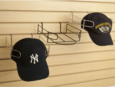Slatwall Baseball Cap Display | Black, White or Chrome
