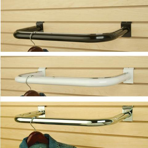 Slatwall C Shapped Hangrail | Black, White or Chrome