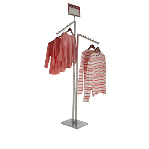 2 Way Clothing Rack With TWO Slanted Display Arms