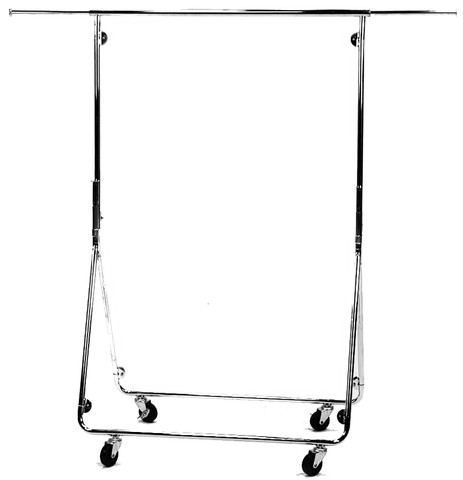 Collapsible Single Rail Rolling Clothing/Garment Rack | Chrome