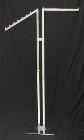 Two Sided Clothing Rack with Straight and Slanted Display Arm | CHROME