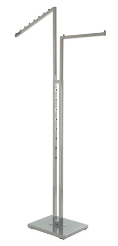 2 Way Clothing Rack with Straight and Slanted Display Arm | CHROME
