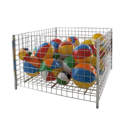 "48"" Square Grid Wire Dump Bin | Chrome"
