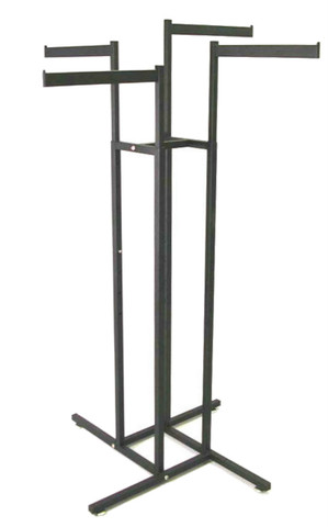 "Texture  Black 4 Way Rack With Four 16"" Long Straight Display Arms"
