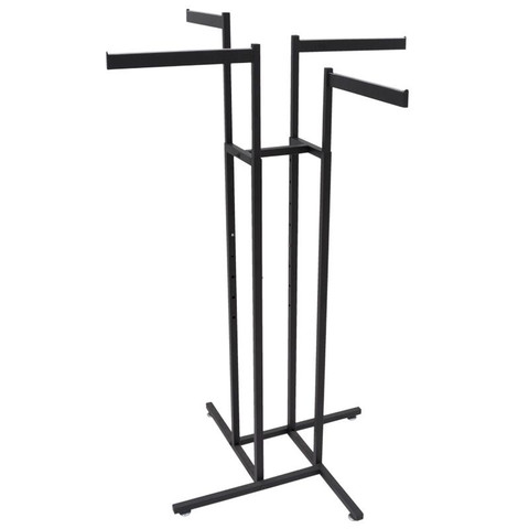 4 Way Clothing Rack With Slanted Arms - Black