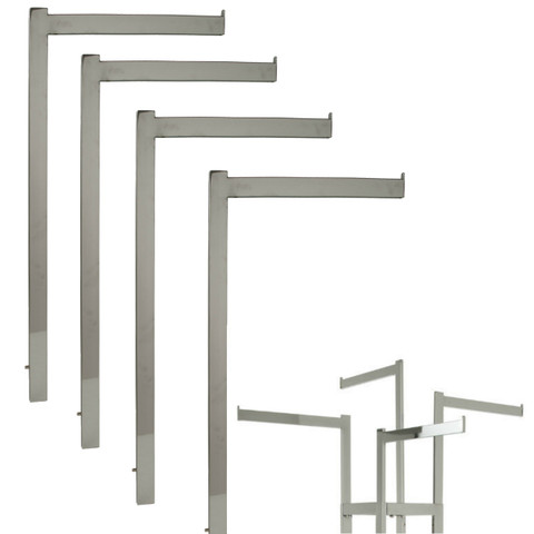 """Chrome 16"""" L Straight Replacement Arms for Rectangular 2 & 4 Way Rack"""