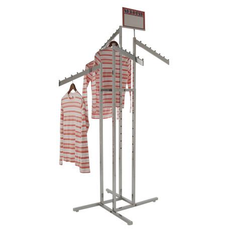4 way rack with 4 slanted adjustable height display arms