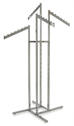 Retail 4 Way Fixture With  (2) Straight & (2) Slanted Display Arms | CHROME