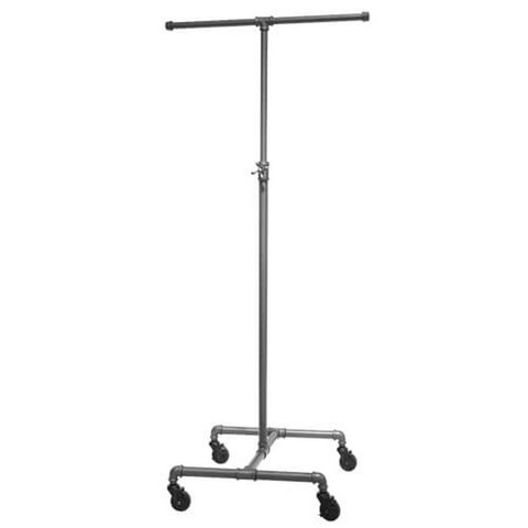 Pipeline 2 Way Adjustable Height Rolling Clothing Rack  GREY